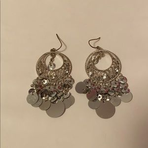 Silver rhinestone and sequin earrings